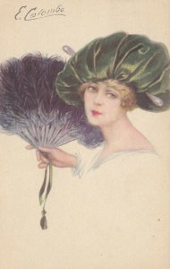 Art Deco ; COLOMBO , Female Fashion Portrait, Girl with a fan , PU-1919