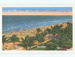 Unused Linen BEACH SCENE Miami Beach Florida FL d7319