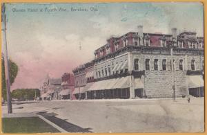 Baraboo, WIS., Warren Hotel & Fourth Ave., - 1914 (Hand colored)