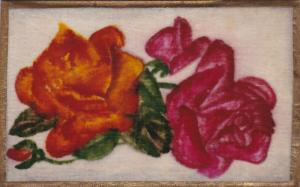 Still Life: Orange and Pink Roses, Gold border, 10-20s
