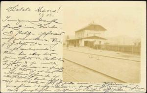 belarus russia, MIKULICZY, Railway Station (1903) RPPC
