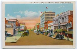 East Second Street Montgomery Ward Sign Casper Wyoming linen postcard