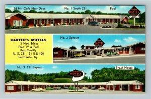 Scottsville KY-Kentucky Carter's Motels Classic Cars Advertising Chrome Postcard