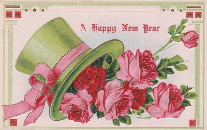 happy new year greetings fancy hat with roses db