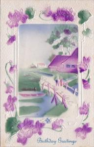 Birthday Greetings With Beautiful Embossed Landscaped Scene