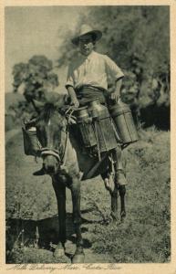 Costa Rica, C.A., Milk Delivery Man on Horseback (1920) Gran Hotel Postcard