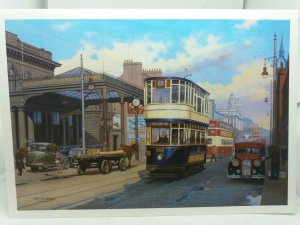 Large Postcard Great Victoria Street Tram Belfast Painting by Eric Bottomley