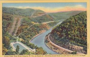 West Virginia New River Canyon Showing Surge Basin On Left And C & O Rail Roa...
