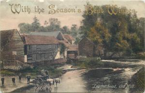 Leatherhead Old Mill 1909 UK village street view horse cart