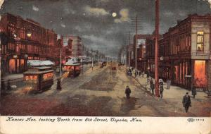 Topeka KS~Kansas Avenue North From 8th Street~Night Lights~Trolleys~1909 IPCC