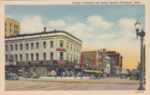 Iowa Davenport Corner Of Second and Brady Streets 1944 Curteich