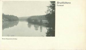 Brattleboro VT  View of Water from Suspension Bridge UDB Photo Postcard