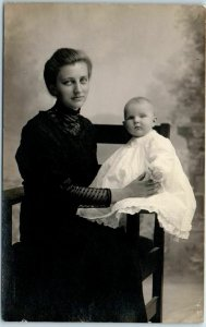 Vintage RPPC Real Photo Postcard Young Woman & Baby, Studio Portrait c1910s