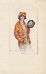 Art Deco ; BOMPARD ; Tennis woman , 1910-20s