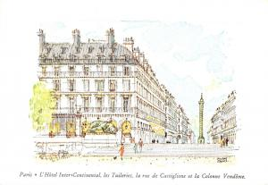 Embossed Art Postcard Hotel Inter Continental Paris France #777