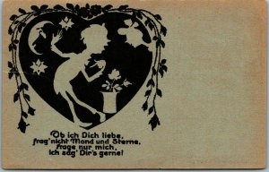 Vintage German Silhouette Greetings Postcard Valentine's Day Romance c1910s