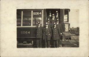 Chelsea/Boston MA Trolley Car & Conductors to Convict Ship c1910 RPPC #1