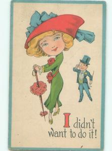 Pre-Linen Fashion PRETTY GIRL WITH FASHIONABLE HAT AND CANE AB7594