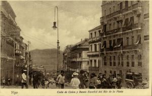 spain, VIGO, Calle de Colon y Banco Español del Rio de la Plata (1920s) Postcard