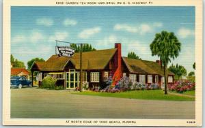 Vero Beach, Florida Postcard ROSE GARDEN TEA ROOM & GRILL Route 1 Roadside Linen