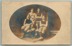 RPPC~CKS Basketball Team in Oval~1907 Real Photo Postcard