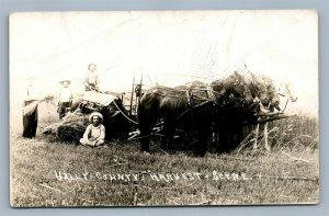 VALLY COUNTY NE FARMING SCENE 1913 ANTIQUE REAL PHOTO POSTCARD RPPC