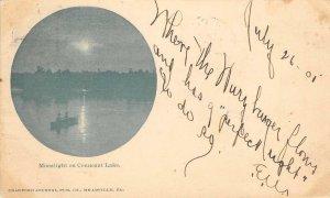 Moonlight on Conneaut Lake, Pennsylvania 1905 Antique Vintage Postcard