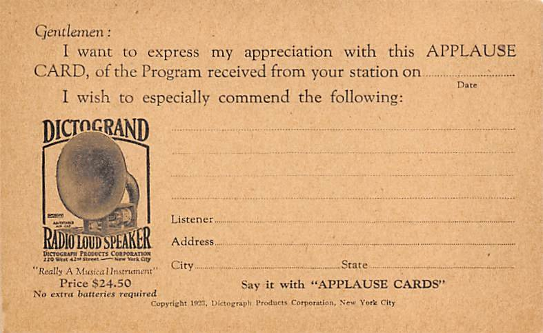 Eictogrand Radio Loud Speaker New York, USA Advertising Unused