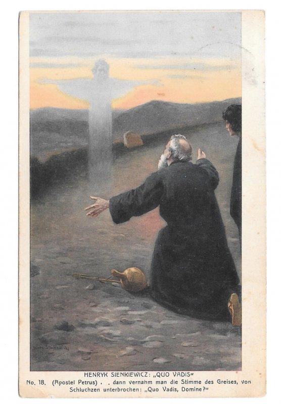 Apostle Peter to Jesus Quo Vadis Artist Henryk Sienkiewicz Collotype Postcard