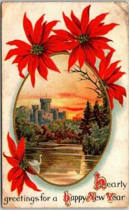 Vintage 1911 HAPPY NEW YEAR Greetings Postcard Castle Scene /Poinsettia Flowers