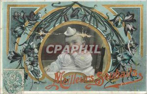 Old Postcard Best Wishes