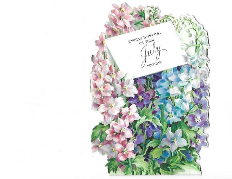 Wishing You Happiness July Birthday Diecut Hallmark Gems Card and Envelope