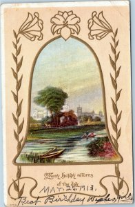Many happy returns of the day - park scene inside bell greetings postcard 1913