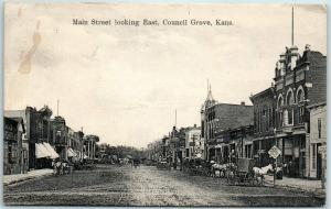 Council Grove, Kansas Postcard Main Street, Looking East Downtown Scene 1908