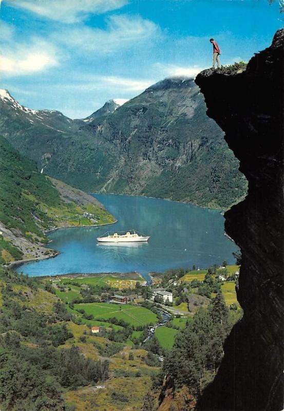 Norway Geiranger Flydalsjuvet The Flydal Ravine Lake Ship Mountain