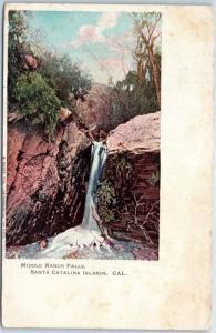 Santa Catalina Island, California Postcard MIDDLE RANCH FALLS 1907 Cancel Rieder