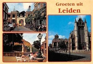 Netherlands Groeten uit Leiden, Church Street Autos Cars Bicycles Gate Promenade
