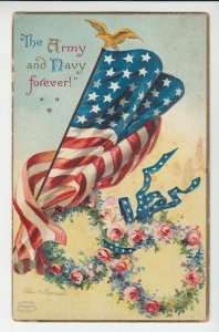 P2065 old clapsaddle postcard patriotic the army & navy forever flag & flowers