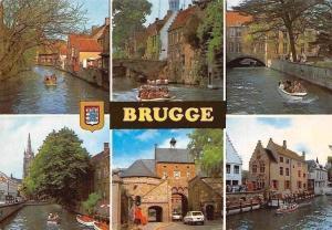 Belgium Greetings from Brugge, River Canal Boats Bridge Pont, Street Gate Cars