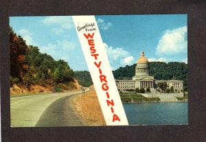 WV Greetings from West Virginia Capitol Charleston Turnpike Beckley Postcard