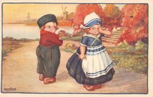 Fantasy Girl cry, cute children, enfants, dutch costumes, windmills, Bertiglia