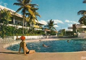 MARTINIQUE , 1984 ; Hilton Hotel , Bikini girl at swimming Pool