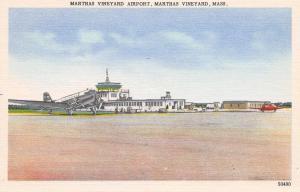 Marthas Vineyard Massachusetts~Northeast Airline Twin-Prop Plane @ Airport 1940s