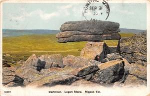 DARTMOOR DEVON UK LOGAN STONE ROCKING STONE RIPPON TOR POSTCARD 1930