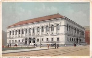 Boston Massachusetts~Public Library~Arched Windows/Doors~People on Sidewalk~1912