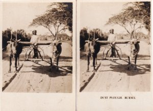 Burma Dust Plough Indian Asian Farming 2x Old Cigarette Card s