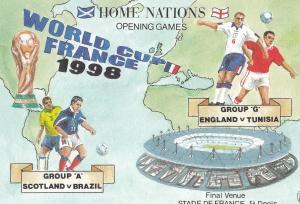 England Vs Tunisia Scotland Vs Brazil Football World Cup 1998 Postcard