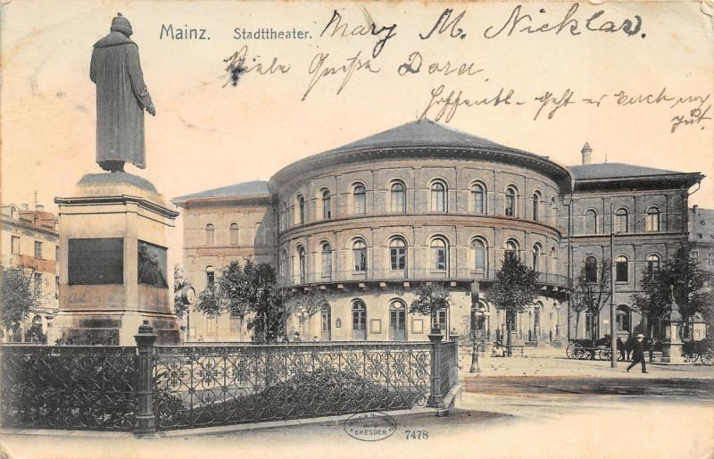 Mainz Germany~Stadttheater~City Theatre~Monument on Square~1905 B&W Pc