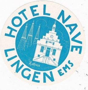 Germany Lingen Hotel Nave Vintage Luggage Label sk3812