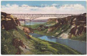 Twin Falls, Jerome Bridge, IDAHO, unused linen Postcard
